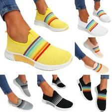 Womens Flat Rainbow Sneakers Ladies Comfort Knit Trainers Slip On Walking Shoes