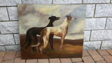 Antico dipinto quadro cane Levrieri - Oil on canvas Greyhound Levriero XIX sec.