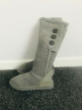 UGG Classic Cardy Knit Tall Grey Ladies Knee Length Boots RRP £240 EU 39 UK 6.5