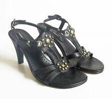 PIED A TERRE 9cm high sandals size 35 (UK 2) black leather brass studs slingback