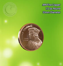 """""""Thomas Cromwell"""" 1/2 oz .999 Copper Round Very Rare and Limited thick round"""