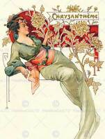 PAINTING NOUVEAU CHRUSAMTHEME CHRYSANTHEMUM FLOWER WOMAN ART PRINT POSTER CC755