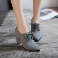 Womens Lace Up Pointed Toe Block High Heels Oxfords Solid Chunky Casual Shoes