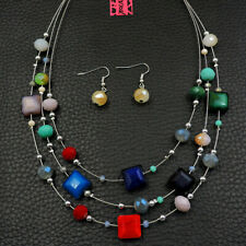 Betsey Johnson Fashion Jewelry Unique Colorful Bead Choker Necklace Earring Set