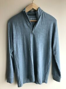 Orvis Hampton Cotton Quarter Zip Shirt Cadet in M