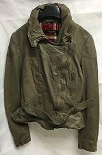 Muubaa Women's Cement Leather Biker Jacket with belt. RRP £379. M1997. UK 8.