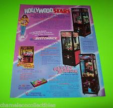 HOLLYWOOD STARS SKILL CRANE ORIGINAL NOS REDEMPTION ARCADE GAME SALES FLYER