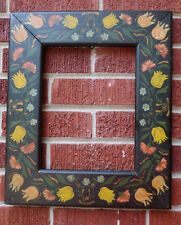 Vintage HAND-PAINTED Pennsylvania DUTCH Style Wood Picture Frame 8 5/8 x 11 1/8