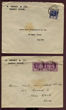SIERRA LEONE KG5th COVERS x 2 to USA...GENET CO + SEAL