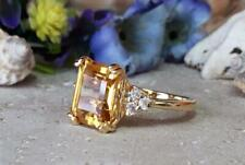 925 Sterling Silver Ladies 2.81 Ct Rectangle Citrine Sim Diamond Cocktail Ring