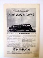 1934 Nash Automobile Vintage Original Print Ad Automobile Car