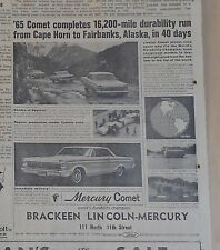 1964 newspaper ad for Mercury - Comet completes 16,200 mile durability run