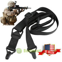 HEAVY DUTY 2 or 1 single point Bungee Rifle Shotgun Sling w Dust Covers Tactical