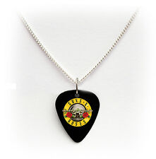 "GUNS N ROSES SLASH SIGNATURE Guitar Pick Plettro 24"" Collana appetito Rock"