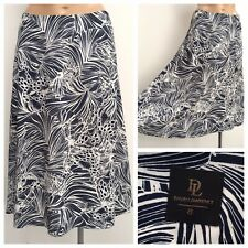 David Lawrence Navy White Floral Pattern A Lina Midi Skirt Size 8