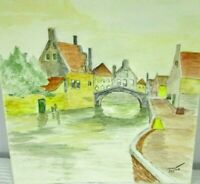 """Venice Italy 7 1/4"""" x 8 1/2"""" Vintage Watercolor Painting Signed Jayne Small"""