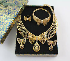 Women Costume Bridal Wedding Butterfly Pendant Crystal Necklace Jewelry Sets