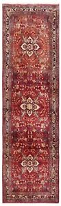 3.5 x 10.10 Hand Knotted Red Runner Tribal Wool Darjazin Nomadic Oriental Rug
