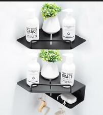 Black Color Single Layer Double Storage Rack Shower Caddy Corner Shelf Organizer