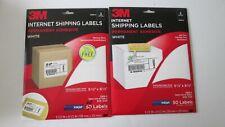"Lot/2 Packs 3M Internet Shipping Labels-3200-V White-5-1/2"" x 8-1/2"" Total 114"