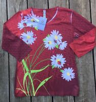 Artisans DAISIES AND LADYBUGS Womens 3/4 Sleeve T-Shirt Tee Shirt S V Neck G21