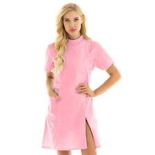 Womens Pink Nurse Costume Outfit Scrubs Stethescope Doctor Mask Dr Fancy Dress