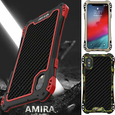 Carbon Fiber Waterproof Aluminum Metal Case Cover For iPhone Xs 11 12 Pro Max 8+