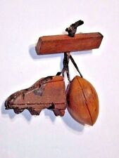FOOTBALL & CLEAT DANGLE CARVED WOOD PIN VINTAGE 1950'S DETAILED SPORTS HANDCRAFT