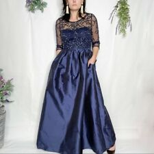 Adrianna Papell Beaded ball gown women size 10 NWOT navy blue mesh bodice