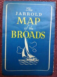 The Jarrold Map of the Broads Vintage Price 2/6  Norfolk Broads Map