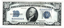 1934B $10 BLUE SEAL SILVER CERTIFICATE, KEY & SECOND RAREST OF $10 SC AFTER1933