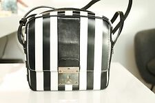 Marc Jacobs Black and White Stripe Square Leather Clutch