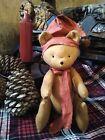 Handmade Primitive mini teddy bear Christmas decor