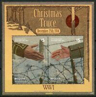 Bequia Gren St Vincent 2014 MNH WWI WW1 Christmas Truce 2v S/S Military Stamps