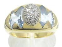 Goldring Ring 750 GOLD Brillant Diamant diamond bague Aquamarin anello or oro
