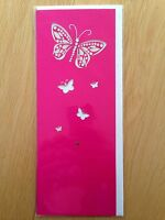 Glam Pink Butterfly Birthday Blank Card All Occasion *NEW* Adult Kids (561)