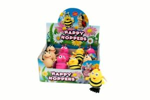 HAPPY HOPPERS -3212 HOPPING JUMPING CLOCKWORK WIND UP BEE LADYBIRD BUTTERFLY TOY