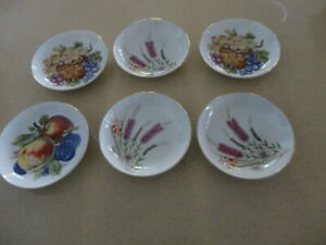 Six 14cm Diameter Yamato China Bowls. 3 Fruit  & 3  Australian Floral design