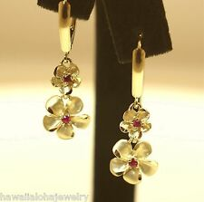 CUSTOM 7-11MM HAWAIIAN 14K YELLOW GOLD SATIN DC PLUMERIA RUBY LEVERBACK EARRINGS