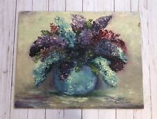 Vtg Floral STILL LIFE Oil PAINTING on Board Signed Elouise Or E. Louise ?