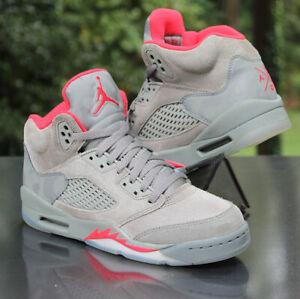 Nike Air Jordan 5 Retro Camo GS Size 5Y Grey Dark Stucco Red 440888-051