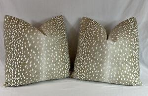 PAIR Vern Yip Fawn Antelope Pillow Covers 20x20 CUSTOM MADE