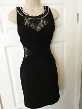 Lipsy Black Embellished Lace Mini Dress Size 10 bodycon wiggle cut out asos next