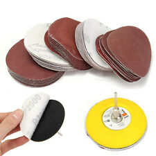 "3""(75mm)Loop Sanding Pad & Abrasives Hook + 60x Sanding Paper + 1/4"" Shank KIT"