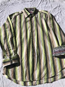 Robert Graham L/S Green/Black/Brown Stripe Flip Cuff Shirt - Size XL/TG
