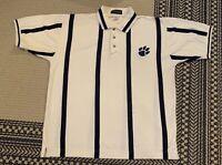 Vintage Inner Harbor Clemson University Polo Shirt Size L Black White Striped