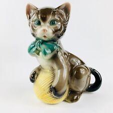 "Royal Copley Cat Planter Figurine Ball Of Yarn 8"" Farmhouse Succulents Vintage"
