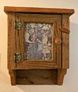 Hand Made Small Primitive Wood Wall Cabinet Glass door w/Norman Rockwell Reprint