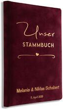 Stammbuch personalisiert, Hochzeit, Bordeaux Samt, Qualitätsprägung, P-008