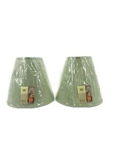 NEW Pair Martha Stewart Green White Checked Cone Country Cottage Lampshade